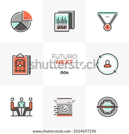 Modern flat icons set of business plan, market operation strategy. Unique color flat graphics elements with stroke lines. Premium quality vector pictogram concept for web, logo, branding, infographics