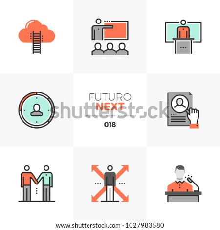 Modern flat icons set of business training class, coach mentorship. Unique color flat graphics elements with stroke lines Premium quality vector pictogram concept for web, logo, branding, infographic