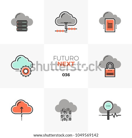 Modern flat icons set of cloud computing technology, network server. Unique color flat graphics elements with stroke lines Premium quality vector pictogram concept for web, logo, branding, infographic