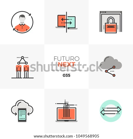 Modern flat icons set of communication technology, social network. Unique color flat graphics elements with stroke lines. Premium quality vector pictogram concept for web, logo, branding, infographics
