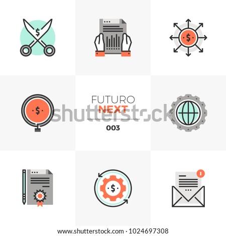 Modern flat icons set of company liquid assets, cash flow statement. Unique color flat graphics elements with stroke lines Premium quality vector pictogram concept for web, logo, branding, infographic