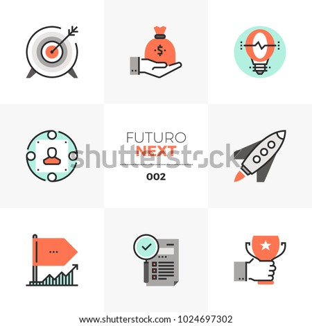 Modern flat icons set of company startup, business goal and awards. Unique color flat graphics elements with stroke lines. Premium quality vector pictogram concept for web, logo, branding, infographic