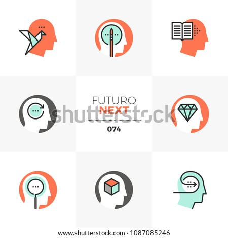 Modern flat icons set of creative thinking, exercise practice for brain. Unique color flat graphics elements stroke lines. Premium quality vector pictogram concept for web, logo, branding, infographic