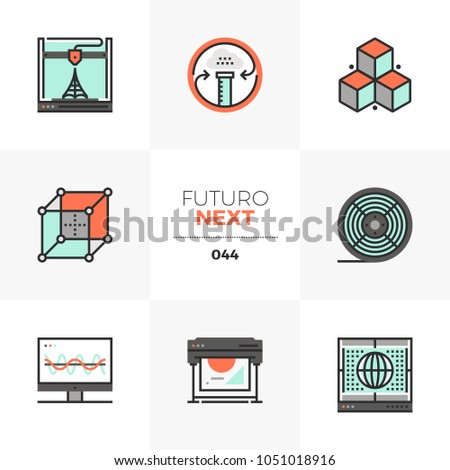 Modern flat icons set of 3d printer processing, volumetric scanning. Unique color flat graphics elements with stroke lines Premium quality vector pictogram concept for web, logo, branding, infographic