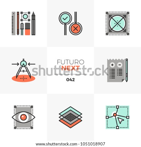 Modern flat icons set of design prototyping tools, project workflow. Unique color flat graphics elements, stroke lines. Premium quality vector pictogram concept for web, logo, branding, infographics.