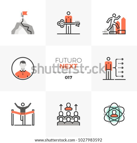 Modern flat icons set of develop leadership skills and achieve goal. Unique color flat graphics elements with stroke lines Premium quality vector pictogram concept for web, logo, branding, infographic
