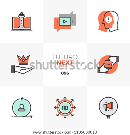 Modern flat icons set of digital marketing strategy, online business. Unique color flat graphics elements stroke lines. Premium quality vector pictogram concept for web, logo, branding, infographics.