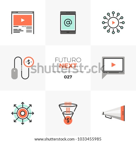 Modern flat icons set of digital marketing, video advertising. Unique color flat graphics elements with stroke lines. Premium quality vector pictogram concept for web, logo, branding, infographics.