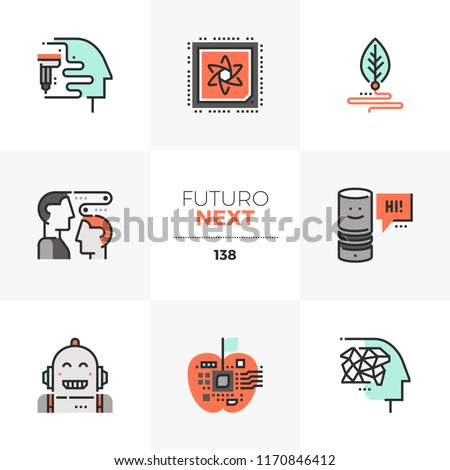 Modern flat icons set of emerging technologies, future of cognitive science. Unique color flat graphics elements with stroke lines. Premium quality vector pictogram concept for web, logo, infographics