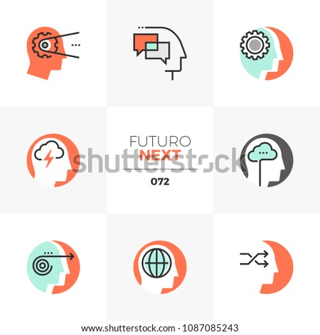 Modern flat icons set of emotional intelligence, mind control progress. Unique color flat graphics elements stroke lines. Premium quality vector pictogram concept for web, logo, branding, infographics