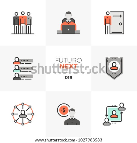 Modern flat icons set of employee relations and personnel benefits. Unique color flat graphics elements with stroke lines. Premium quality vector pictogram concept for web, logo, branding, infographic