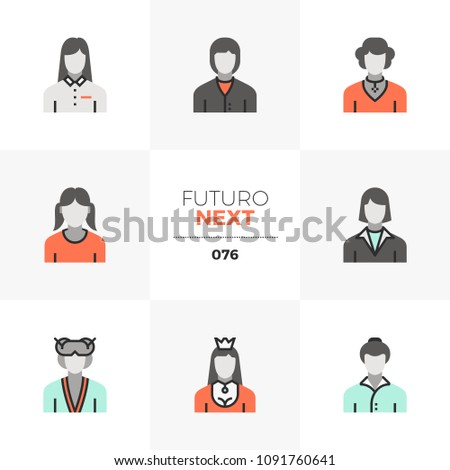 Modern flat icons set of female avatars, various women characters. Unique color flat graphics elements with stroke lines. Premium quality vector pictogram concept for web, logo, branding, infographics