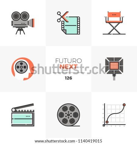 Modern flat icons set of film production, video making and editing. Unique color flat graphics elements with stroke line. Premium quality vector pictogram concept for web, logo, branding, infographics