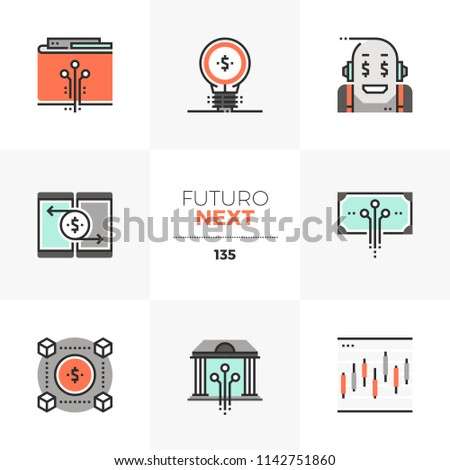 Modern flat icons set of fintech industry, future financial technology. Unique color flat graphics elements stroke lines. Premium quality vector pictogram concept for web, logo, branding, infographics