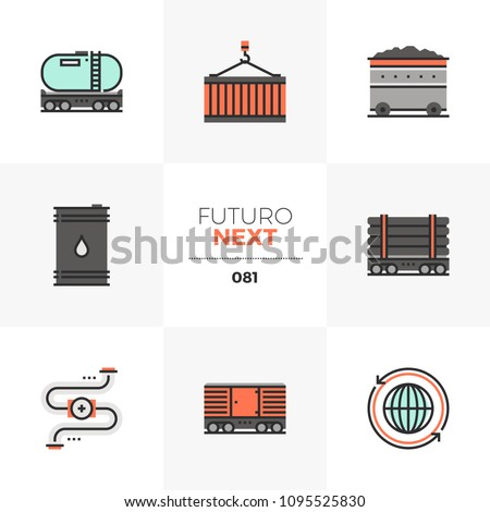 Modern flat icons set of fossil fuel transportation, heavy transport. Unique color flat graphics elements stroke lines. Premium quality vector pictogram concept for web, logo, branding, infographics.