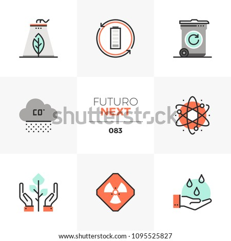 Modern flat icons set of global pollution, green nature conservation. Unique color flat graphics elements stroke lines. Premium quality vector pictogram concept for web, logo, branding, infographics.