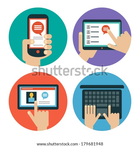 Modern flat icons. Set of hands touching  tablet, laptop and smart phone. Isolated on white background.