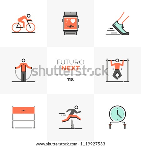 Modern flat icons set of high intensive training, triathlon competition. Unique color flat graphics elements stroke line. Premium quality vector pictogram concept for web, logo, branding, infographics