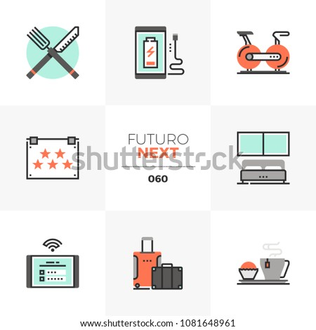 Modern flat icons set of hotel accommodation services, room rent. Unique color flat graphics elements with stroke lines. Premium quality vector pictogram concept for web, logo, branding, infographics.