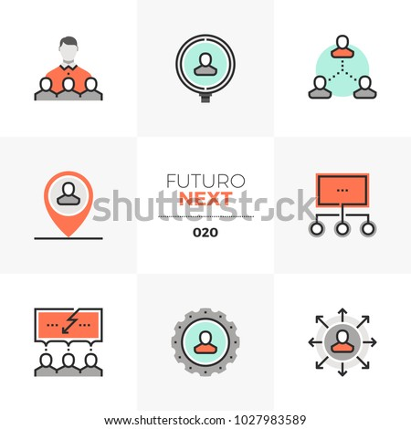 Modern flat icons set of human resource management and recruitment. Unique color flat graphics elements with stroke lines. Premium quality vector pictogram concept for web, logo, branding, infographic