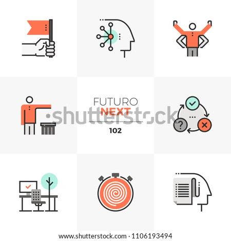 Modern flat icons set of individual productivity, business person goals. Unique color flat graphics elements stroke line. Premium quality vector pictogram concept for web, logo, branding, infographics