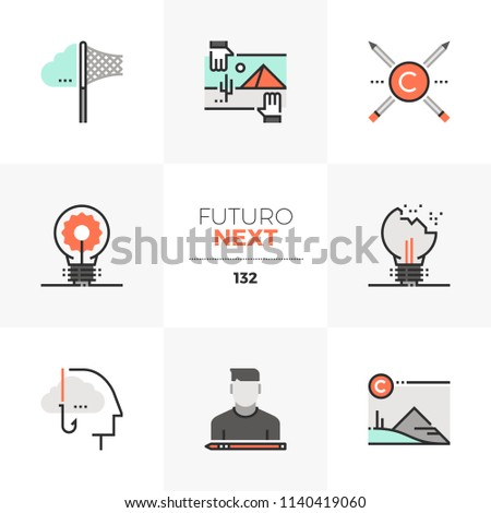 Modern flat icons set of intellectual property rights, stealing ideas. Unique color flat graphics elements stroke lines. Premium quality vector pictogram concept for web, logo, branding, infographics.