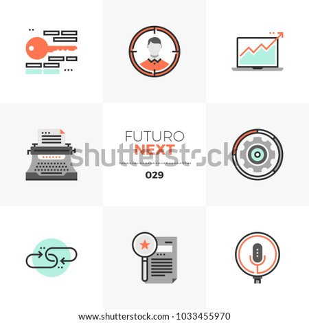 Modern flat icons set of internet search marketing, growth hacking. Unique color flat graphics elements with stroke lines. Premium quality vector pictogram concept for web, logo, branding, infographic
