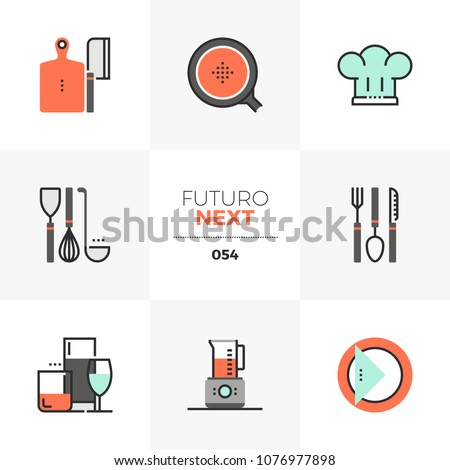 Modern flat icons set of kitchen utensils, dishware and glassware. Unique color flat graphics elements with stroke lines. Premium quality vector pictogram concept for web, logo, branding, infographics
