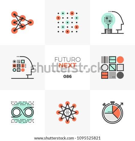 Modern flat icons set of machine learning process, neural intelligence. Unique color flat graphics elements stroke lines. Premium quality vector pictogram concept for web, logo, branding, infographics