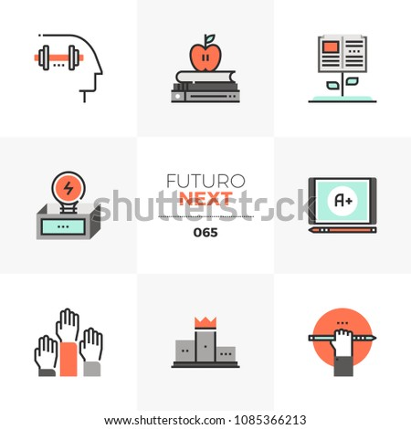 Modern flat icons set of mental skill training, base knowledge study. Unique color flat graphics elements stroke lines. Premium quality vector pictogram concept for web, logo, branding, infographics.