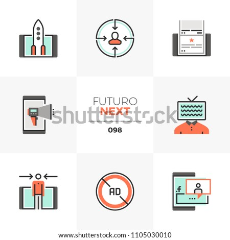 Modern flat icons set of mobile marketing, social media campaign. Unique color flat graphics elements with stroke lines. Premium quality vector pictogram concept for web, logo, branding, infographics.