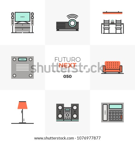 Modern flat icons set of modern home furniture, household appliances. Unique color flat graphics elements of stroke lines. Premium quality vector pictogram concept for web, logo, branding, infographic