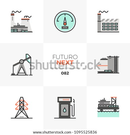 Modern flat icons set of nuclear power plant, offshore oil platform. Unique color flat graphics elements with stroke line. Premium quality vector pictogram concept for web, logo, branding, infographic