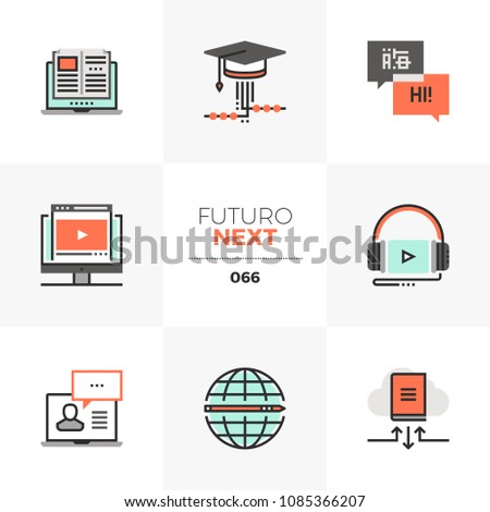 Modern flat icons set of online course program, mobile video lecture. Unique color flat graphics elements stroke lines. Premium quality vector pictogram concept for web, logo, branding, infographics.