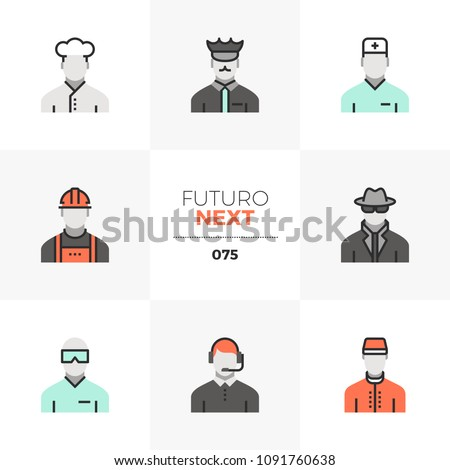 Modern flat icons set of people professions, human resource staff. Unique color flat graphics elements with stroke lines. Premium quality vector pictogram concept for web, logo, branding, infographics