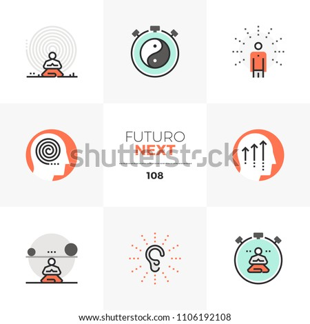 Modern flat icons set of present moment meditation practice, inner peace. Unique color flat graphics element stroke line. Premium quality vector pictogram concept for web, logo, branding, infographics