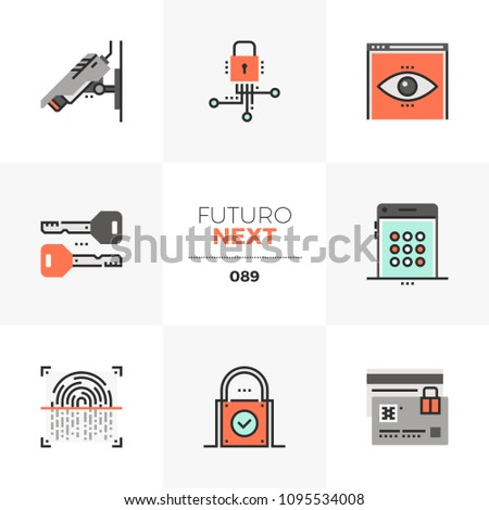 Modern flat icons set of privacy protection, surveillance security. Unique color flat graphics elements with stroke line. Premium quality vector pictogram concept for web, logo, branding, infographics