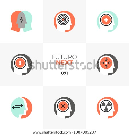Modern flat icons set of psychological problem, intellectual treatment. Unique color flat graphics elements stroke lines. Premium quality vector pictogram concept for web, logo, branding, infographics