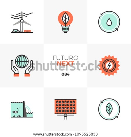 Modern flat icons set of renewable energy source, alternative energy. Unique color flat graphics elements stroke lines. Premium quality vector pictogram concept for web, logo, branding, infographics.
