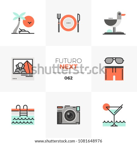 Modern flat icons set of resort vacation trip to seaside in summer. Unique color flat graphics elements with stroke lines. Premium quality vector pictogram concept for web, logo, branding, infographic