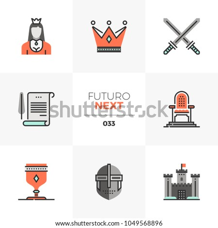Modern flat icons set of royal crown, princess throne, ducal family. Unique color flat graphics elements with stroke lines Premium quality vector pictogram concept for web, logo, branding, infographic