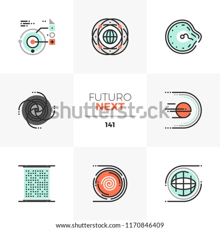 Modern flat icons set of science fiction elements of abstract space technology. Unique color flat graphic elements with stroke line. Premium quality vector pictogram concept for web, logo, infographic