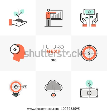 Modern flat icons set of smart investing and crowdsource capital. Unique color flat graphics elements with stroke lines. Premium quality vector pictogram concept for web, logo, branding, infographics.
