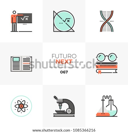 Modern flat icons set of STEM education course, applied science lecture. Unique color flat graphics elements stroke lines. Premium quality vector pictogram concept for web, logo, branding, infographic