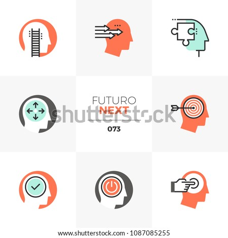 Modern flat icons set of success personality profile, positive thinking. Unique color flat graphics elements stroke lines. Premium quality vector pictogram concept for web, logo, branding, infographic