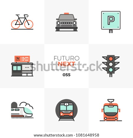 Modern flat icons set of various city transport, commute transportation. Unique color flat graphics elements stroke lines. Premium quality vector pictogram concept for web, logo, branding, infographic
