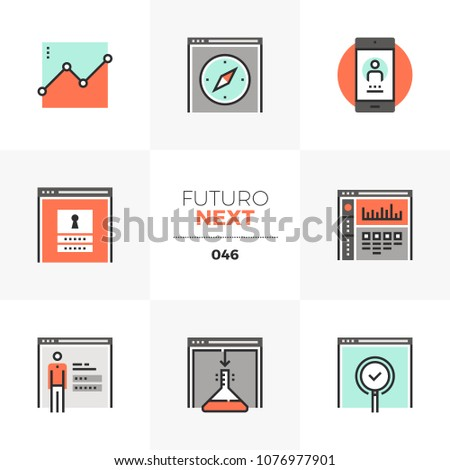 Modern flat icons set of website administration, dashboard system. Unique color flat graphics elements with stroke lines. Premium quality vector pictogram concept for web, logo, branding, infographics
