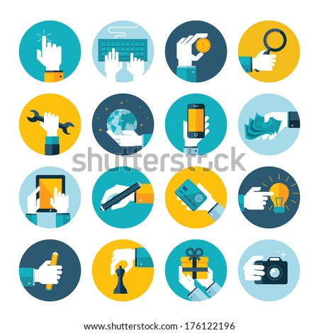 Modern flat icons vector collection of hand using devices, using money, repairs, write, give a gift, play chess, touching touchscreen, in business situations, in design, marketing process.