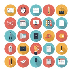Modern flat icons vector collection with long shadow effect in stylish colors of  business elements, office equipment and marketing items. Isolated on white background.