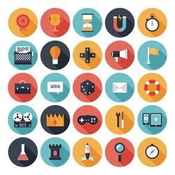 Modern flat icons vector collection with long shadow effect in stylish colors of different elements on game design and development theme. Isolated on white background.